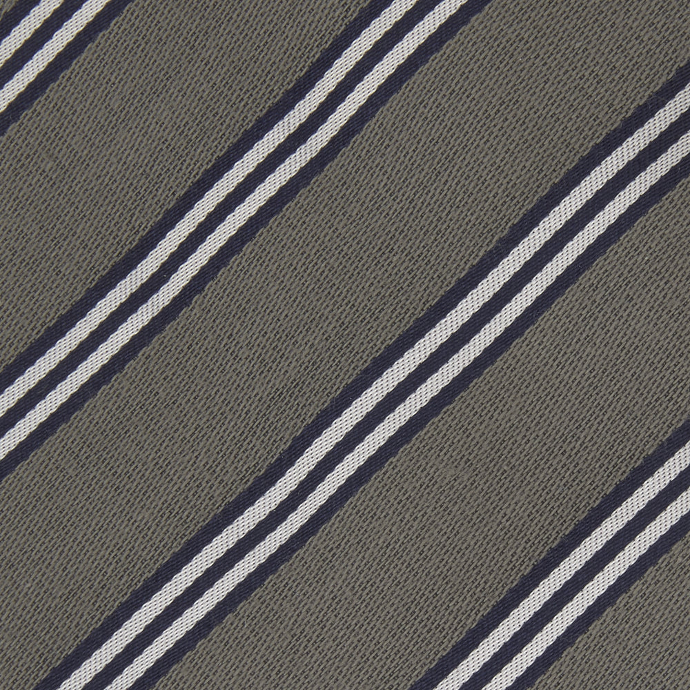 Grey Diagonal Stripe Cotton and Silk Tie