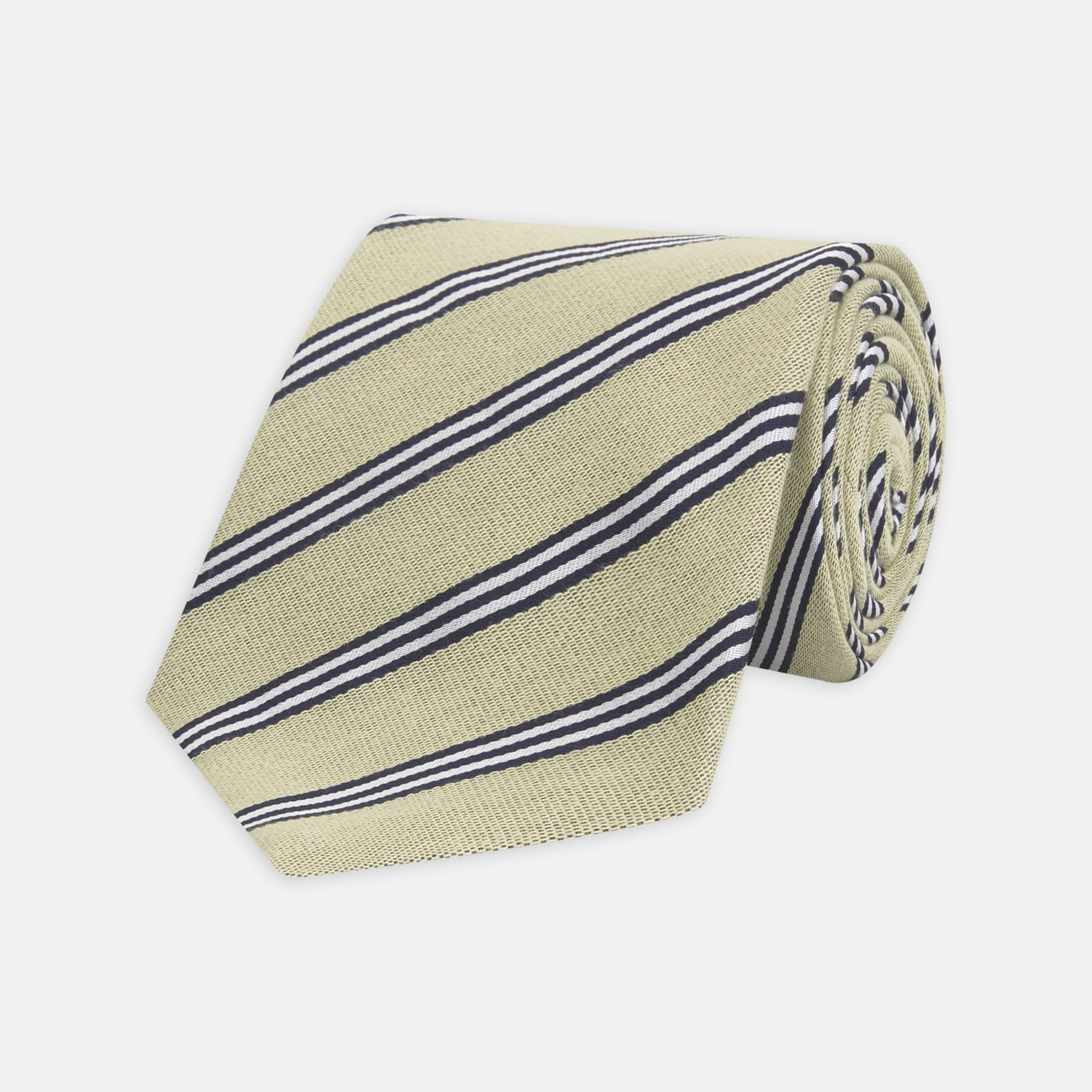 Pale Yellow Diagonal Stripe Cotton and Silk Tie
