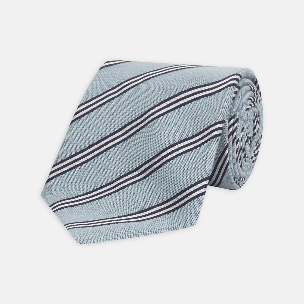 Powder Blue Diagonal Stripe Cotton and Silk Tie