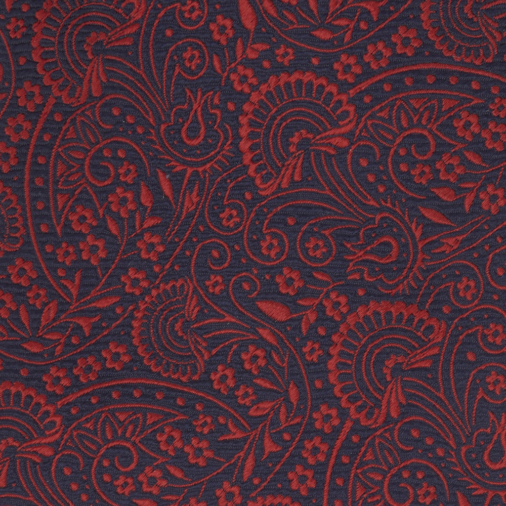 Red and Navy Tonal Paisley Silk Tie