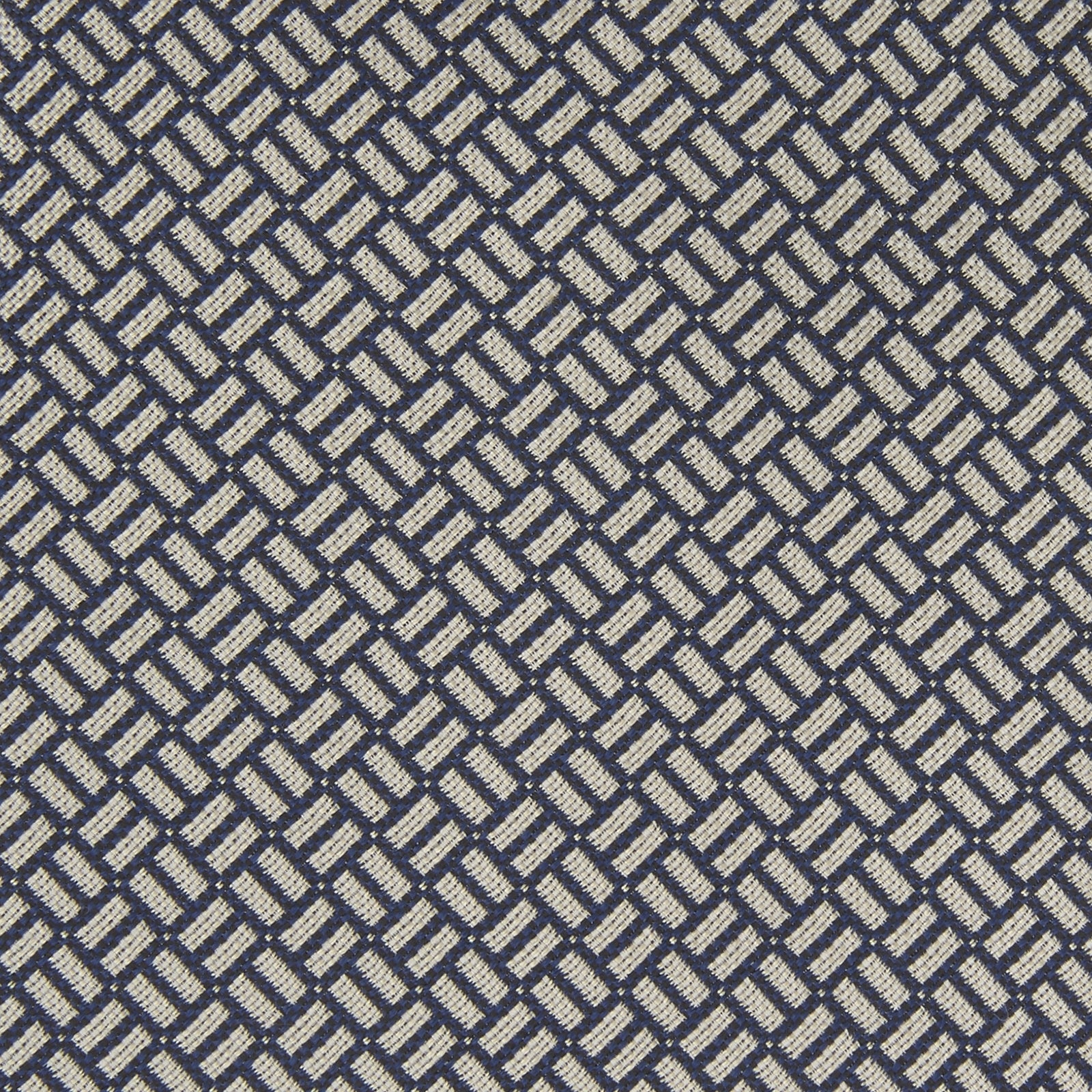 Navy and White Mini Weave Silk Tie