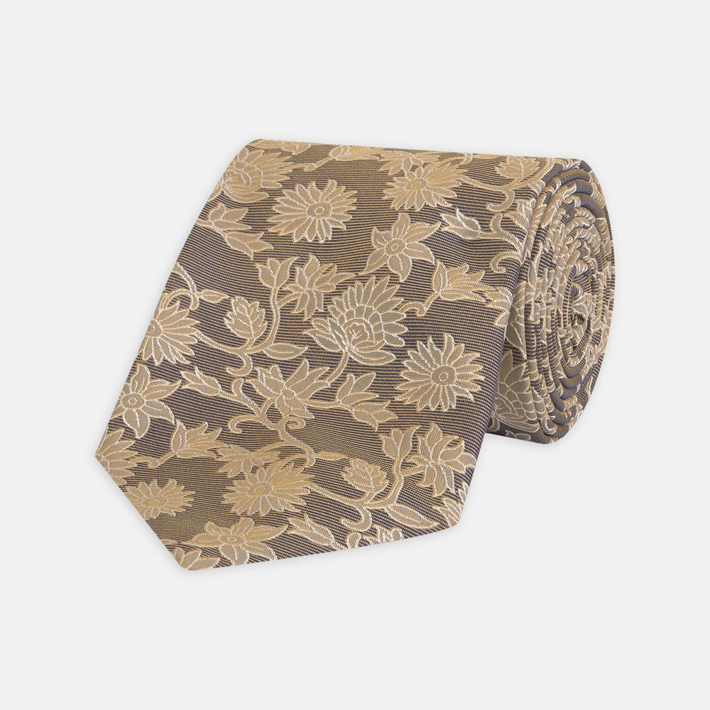Copper Floral Occasion Silk Tie