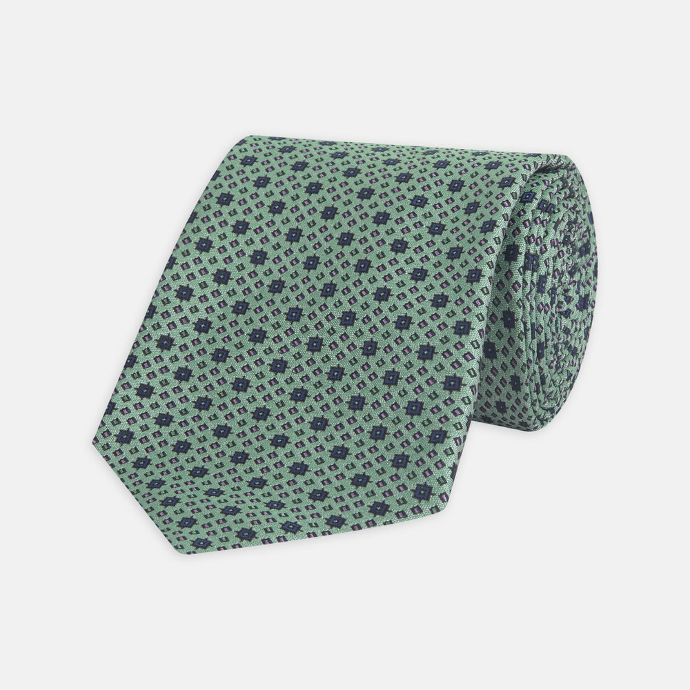 Leaf Green Geometric Silk Tie