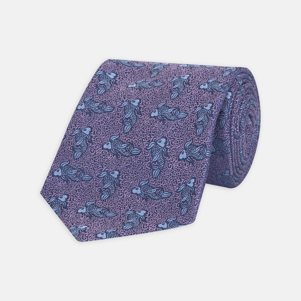 Purple Carp Silk Tie