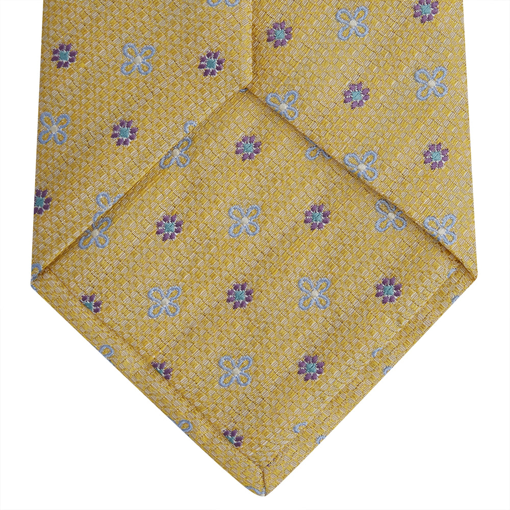 Yellow Floral Silk and Linen Blend Tie