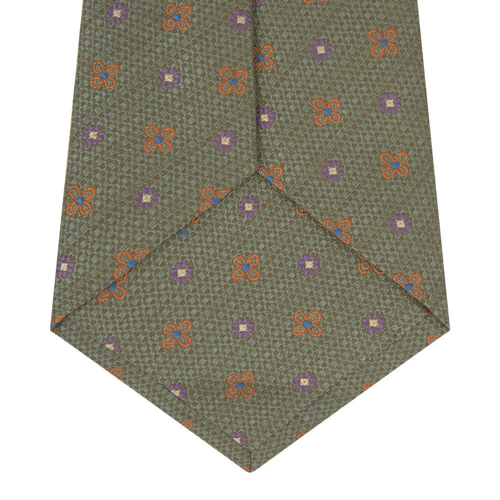 Pistachio Green Floral Silk and Linen Blend Tie