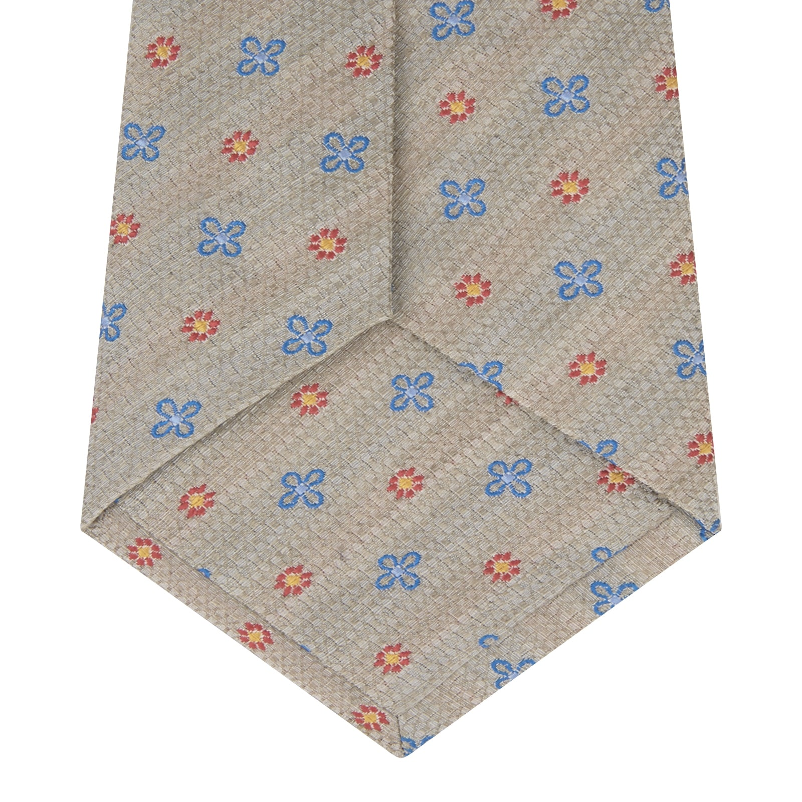 Dove Grey Floral Silk and Linen Blend Tie