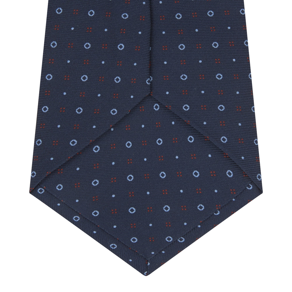 Navy Cross Dots Printed Silk Tie