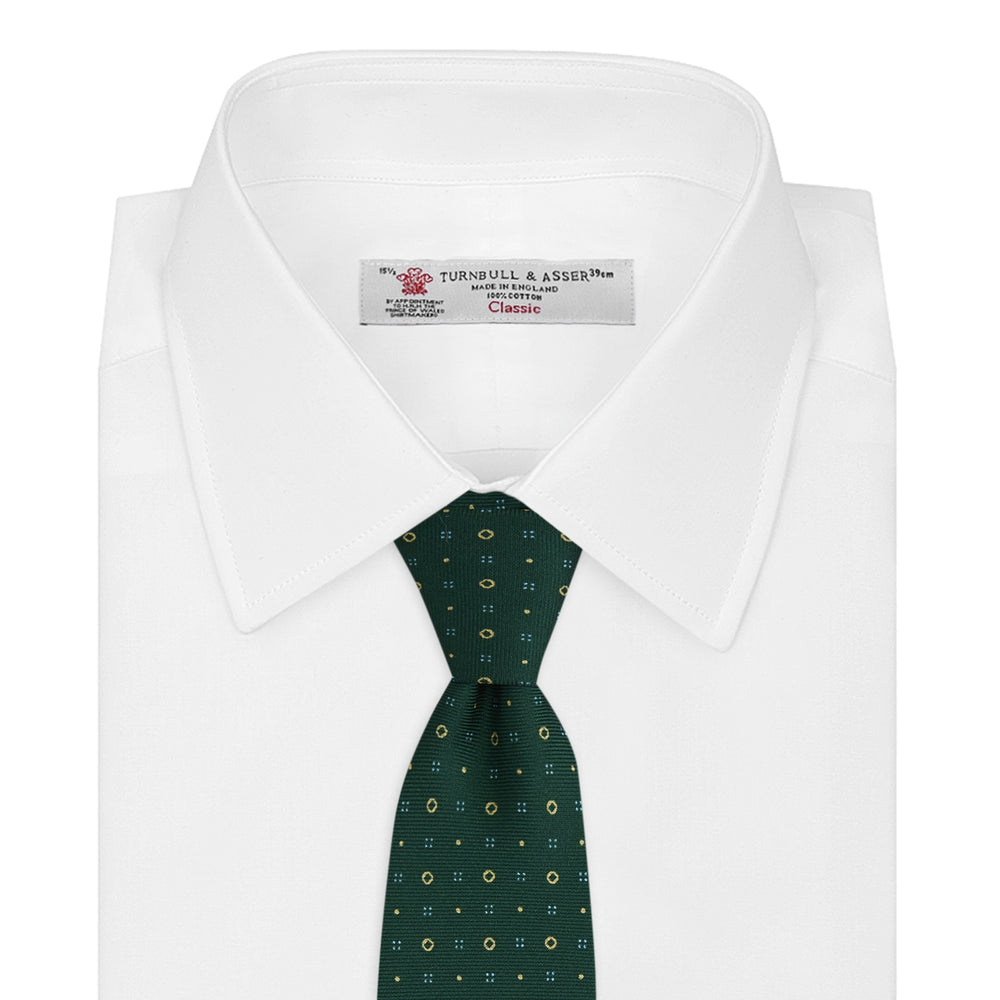 Green Cross Dots Printed Silk Tie
