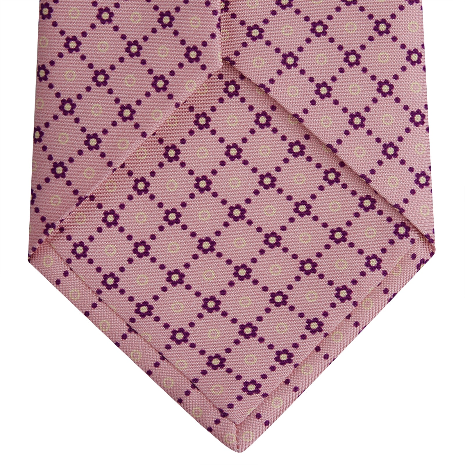 Pink Dotted Floral Printed Silk Tie