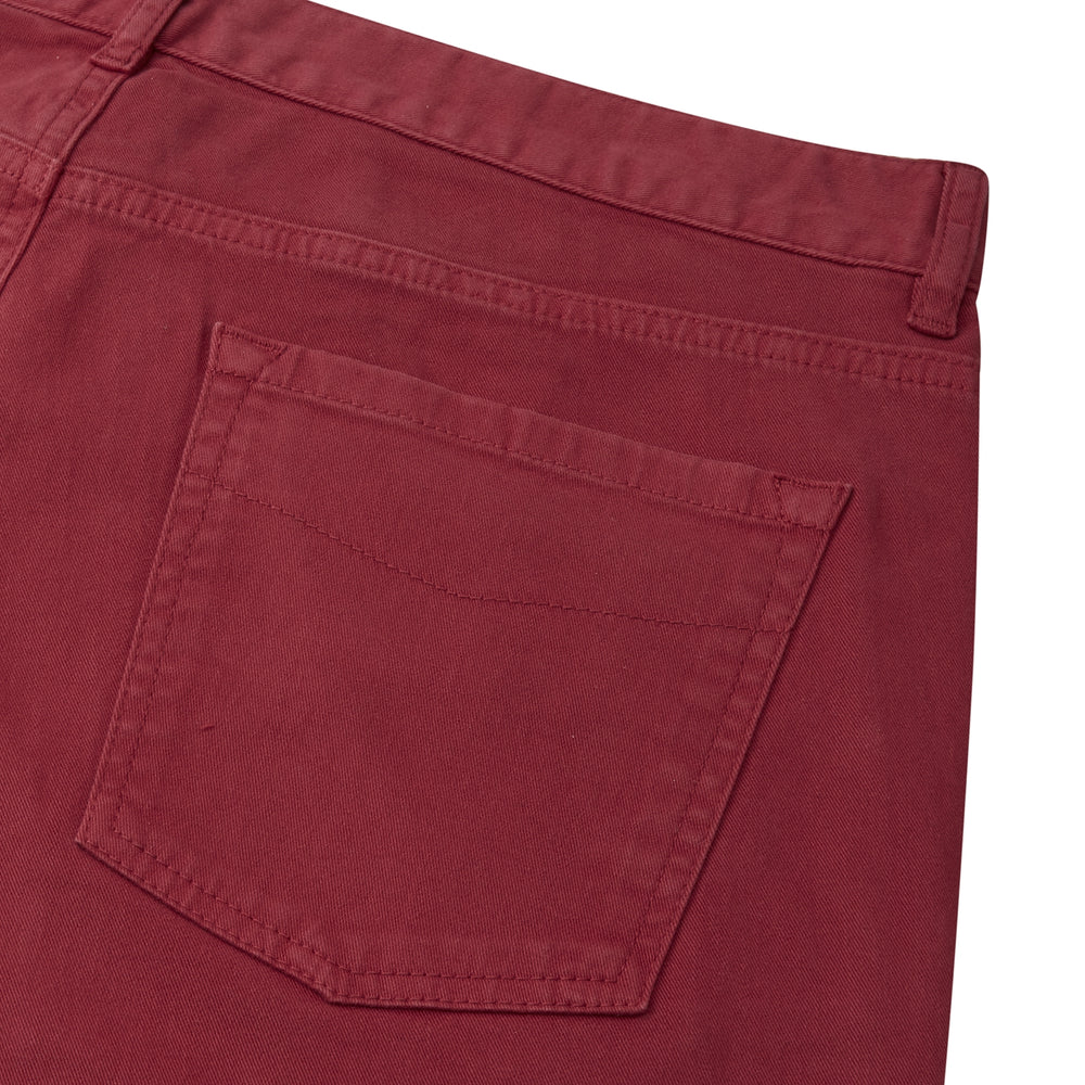 Burgundy Cotton Five Pocket Trousers