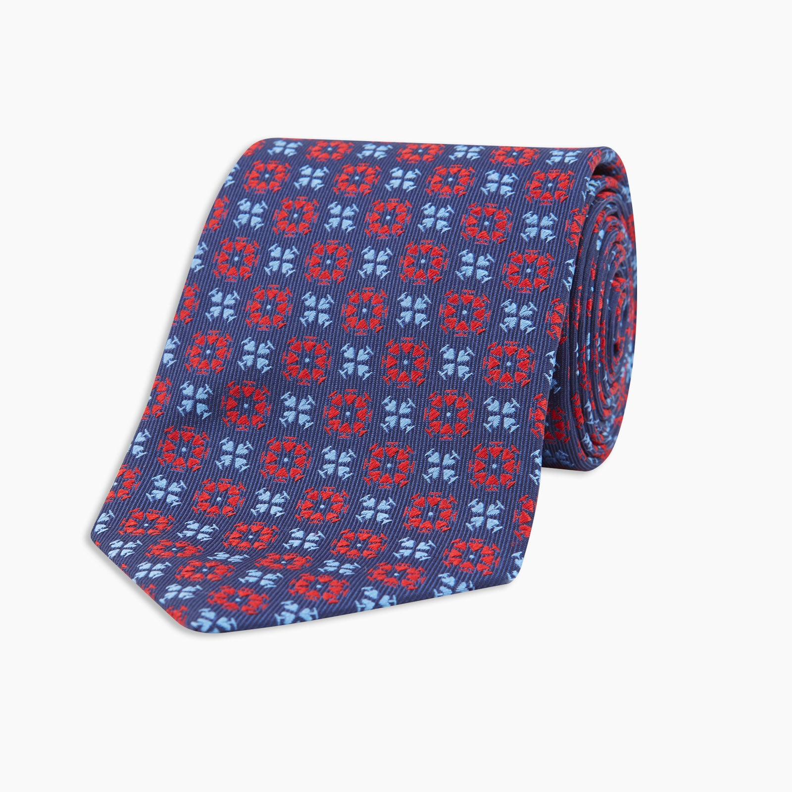 Ace Circles Navy and Red Silk Tie