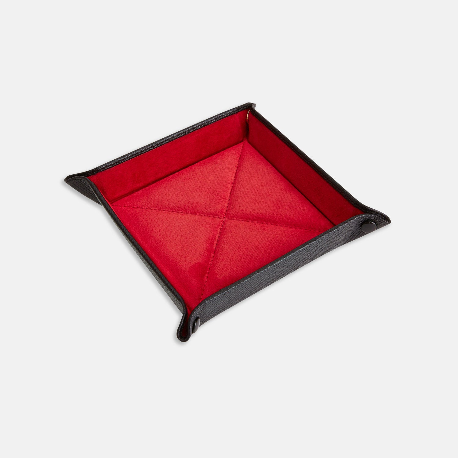 Black and Red Square Leather Travel Tray