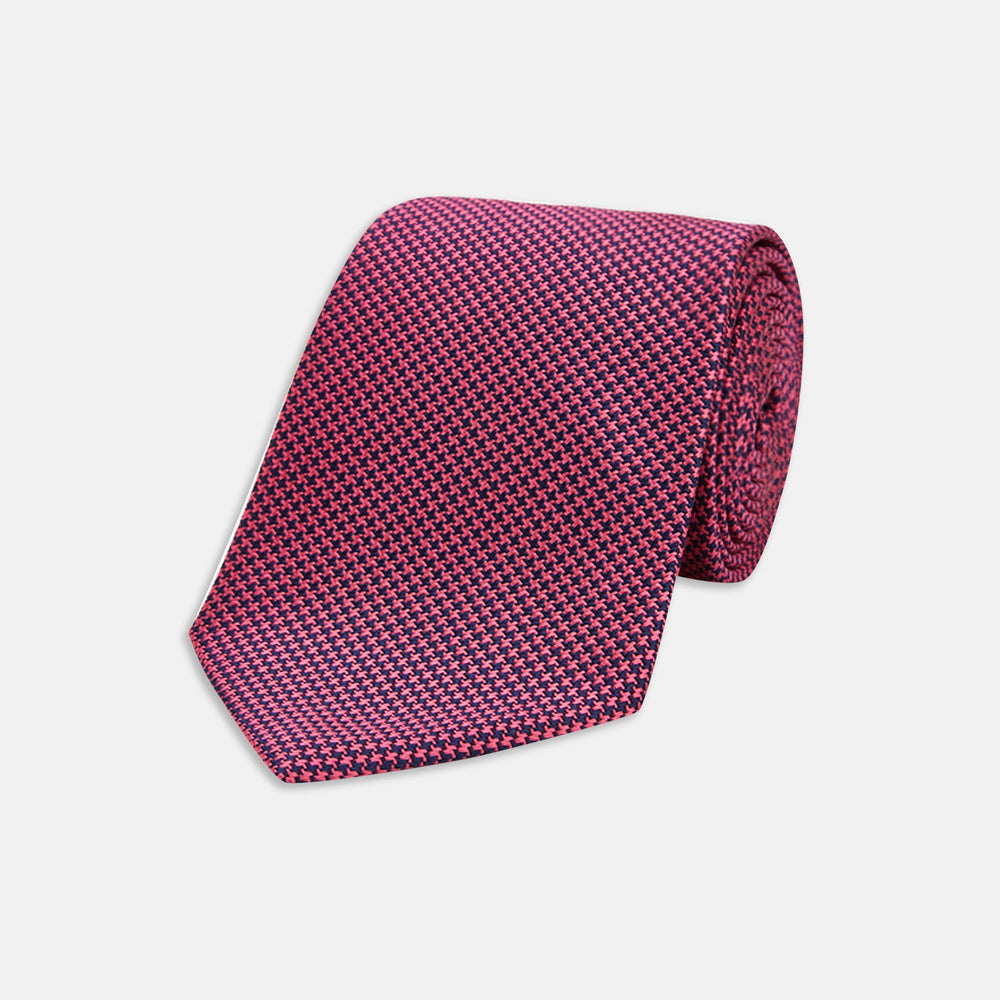 Slim Navy and Pink Houndstooth Silk Tie