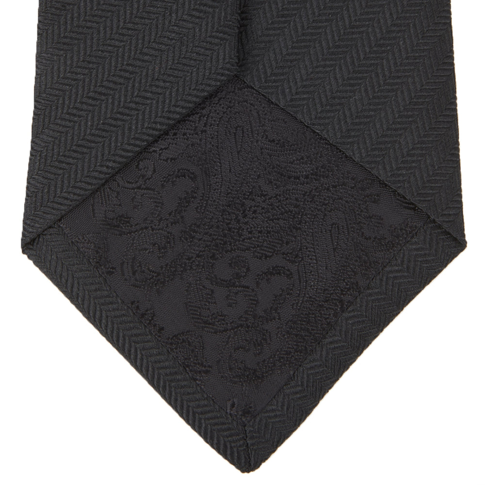 Slim Black Herringbone Silk Tie