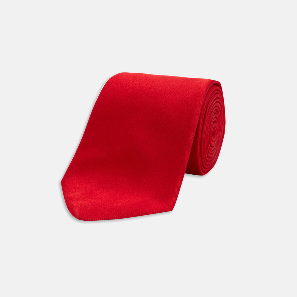 Red Plain Satin Silk Tie