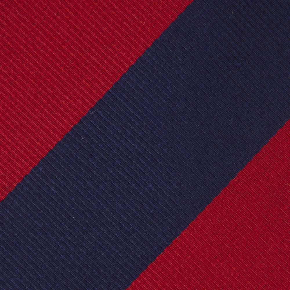 Long Navy and Red Block Stripe Repp Silk Tie