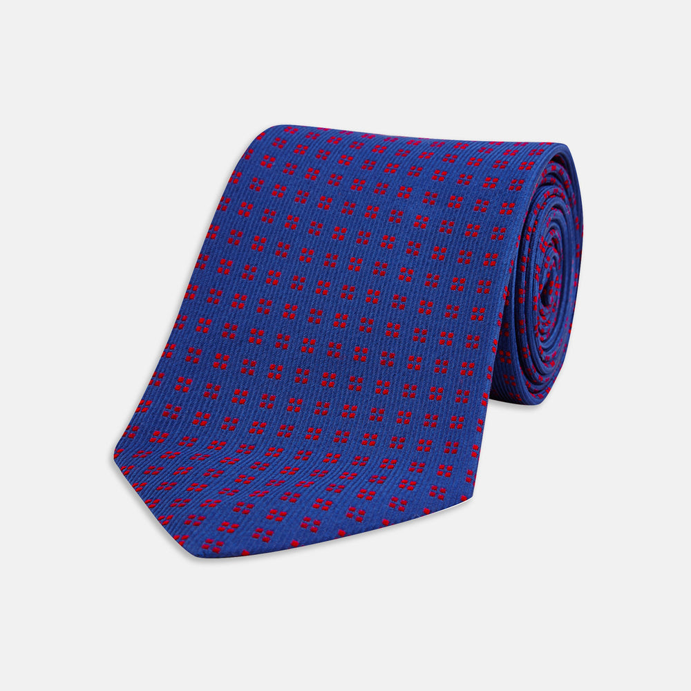 Navy and Red Mini Square Spot Silk Tie