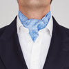 Sky Blue and White Medium Spot Silk Ascot Tie