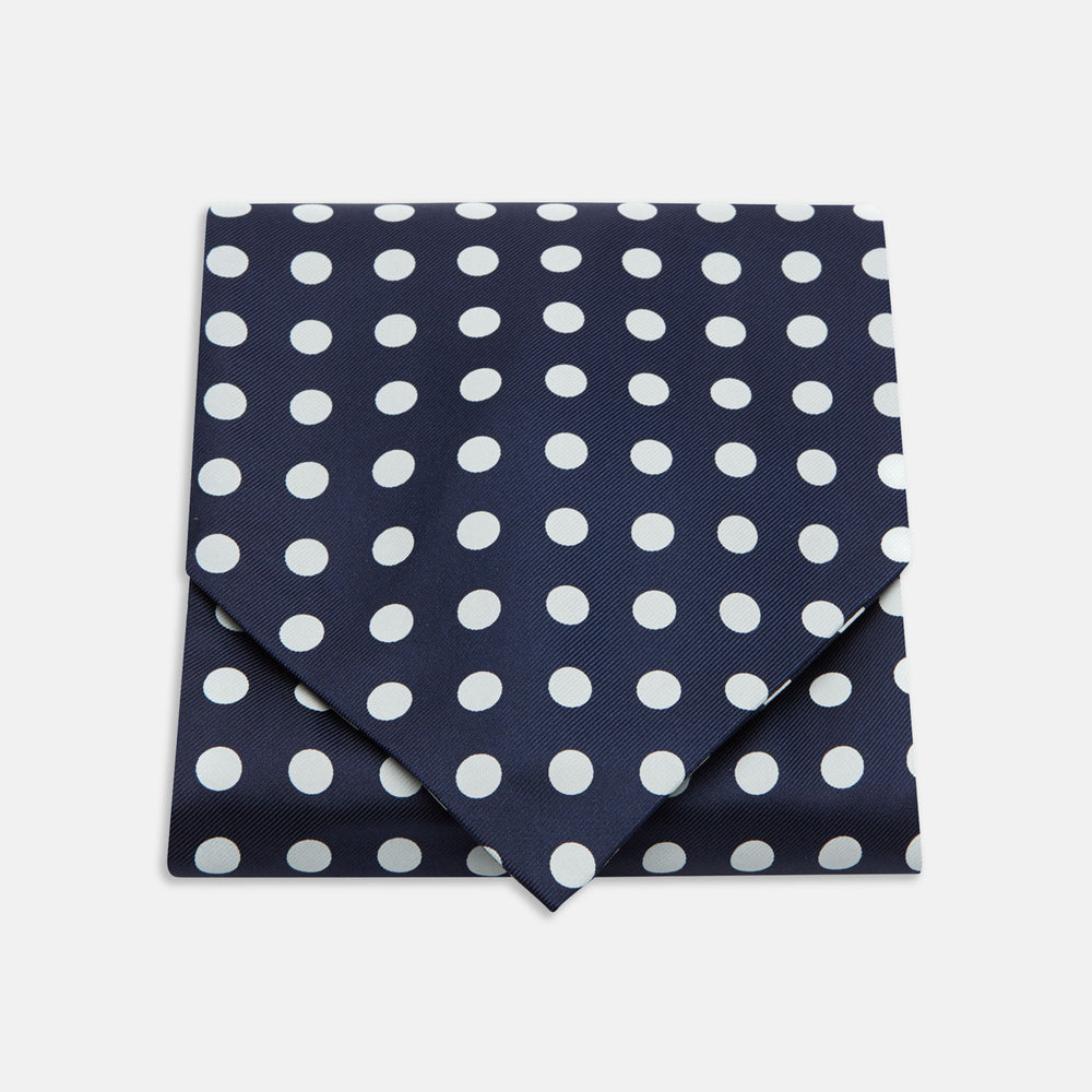 Navy and White Large Spot Silk Ascot Tie