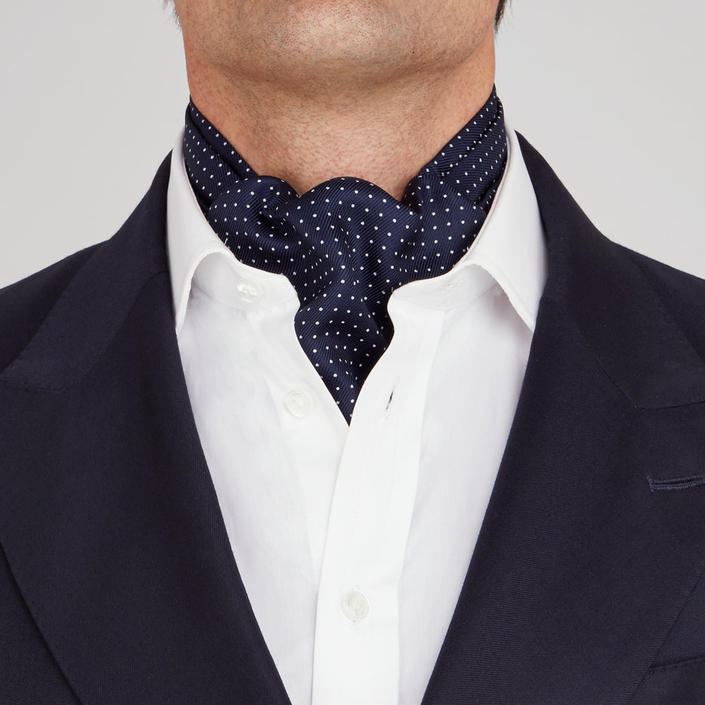 Navy and White Small Spot Silk Ascot Tie
