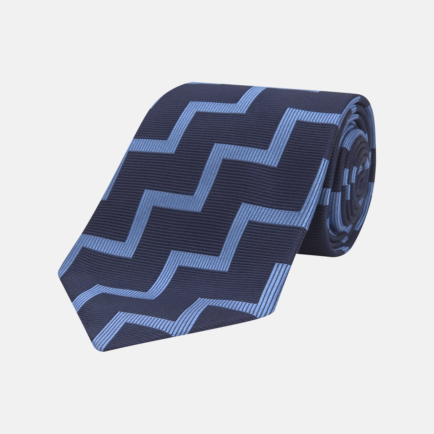Navy and Light Blue Striped Zigzag Silk Tie