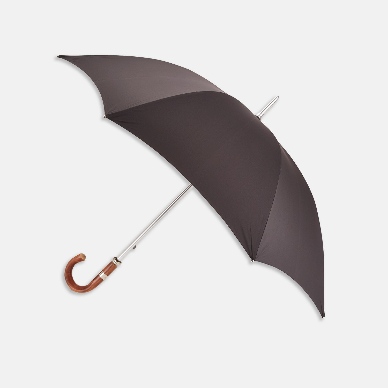Dark Grey Umbrella with Chestnut Crook