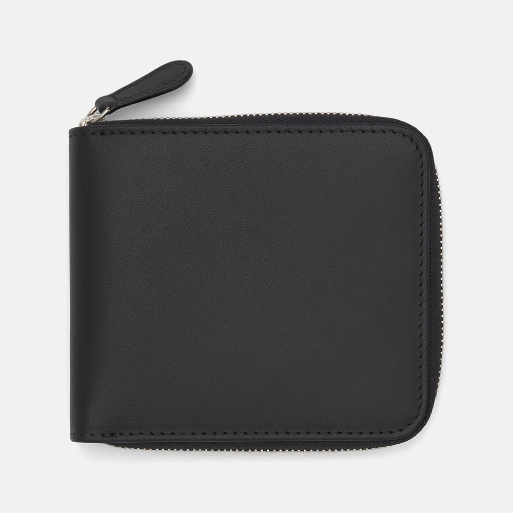 Black Leather 8 C/C Zipped Wallet