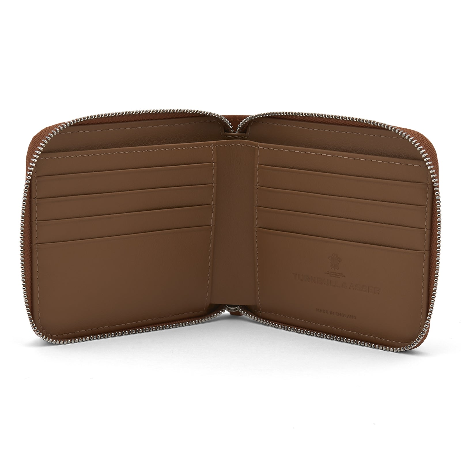 Light Tan Leather 8 C/C Zipped Wallet