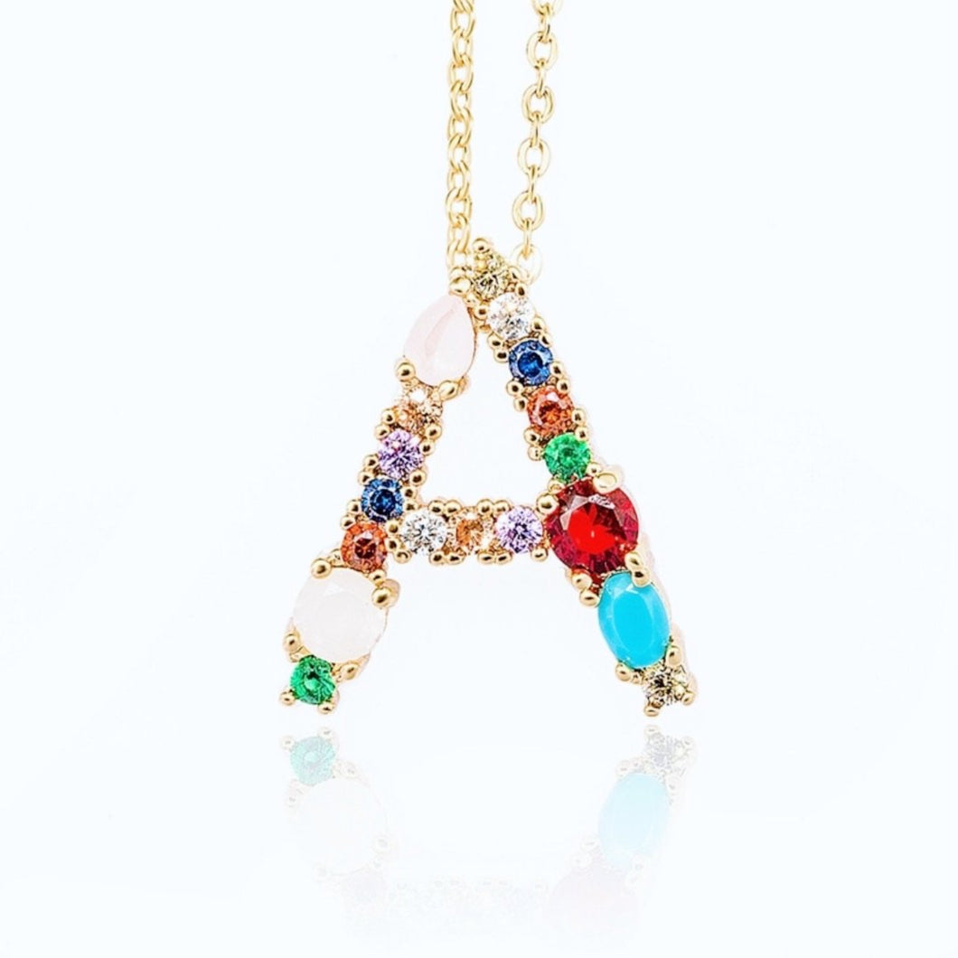 Rainbow monogram necklace