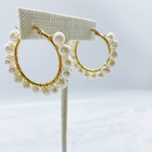 Load image into Gallery viewer, Emma Pearls Hoop Earring