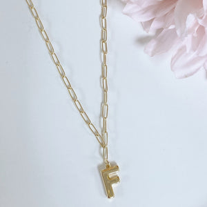 Paper Clip Initial Necklace