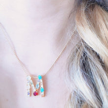Load image into Gallery viewer, Rainbow monogram necklace