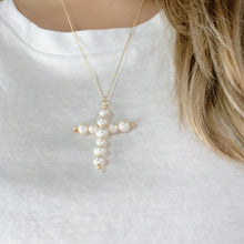 Load image into Gallery viewer, Pearl Cross Necklace