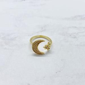 Crescent Moon Star Ring