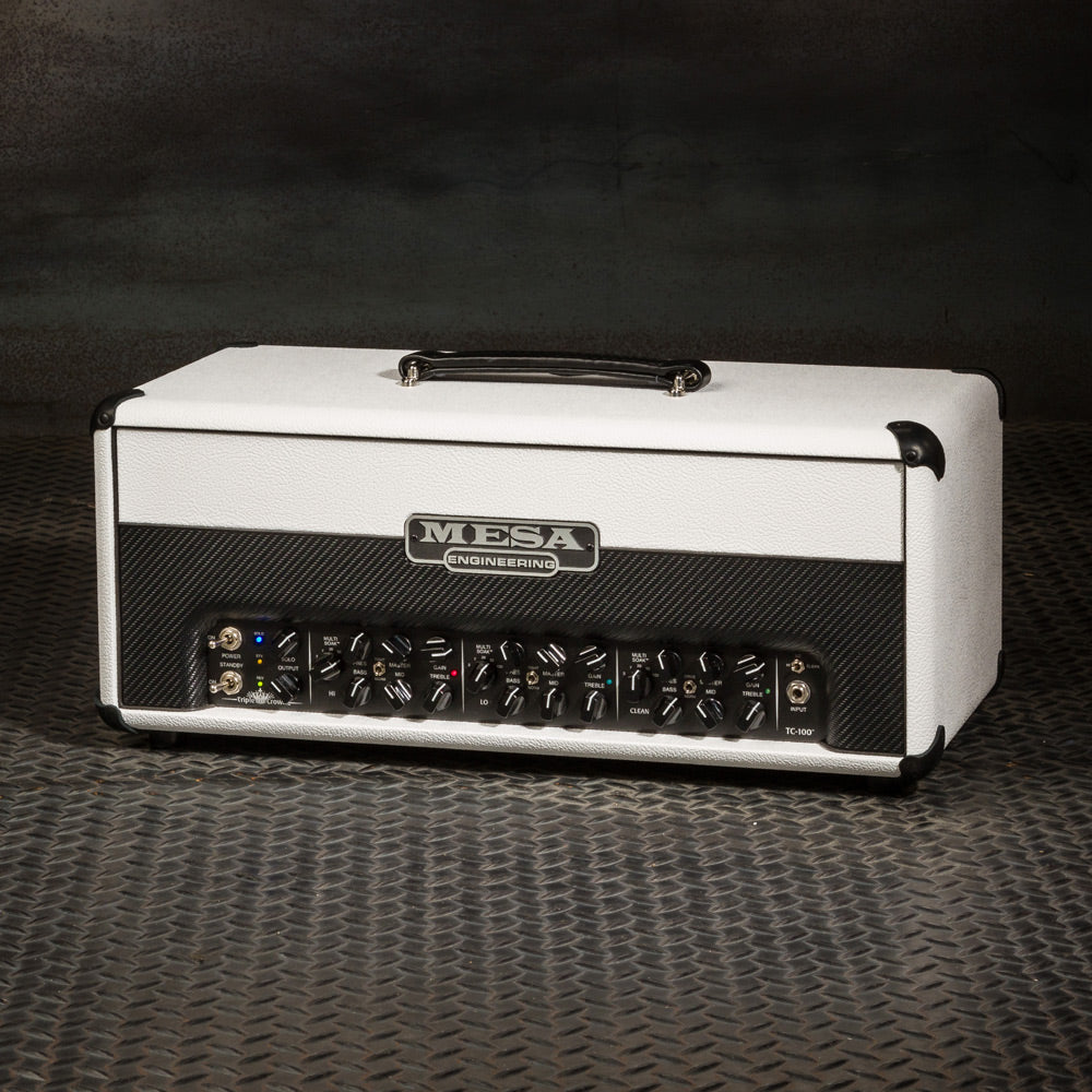 MESA/Boogie Triple Crown TC-100 Head - Custom Hot White Bronco with Split Black Carbon Front Panel