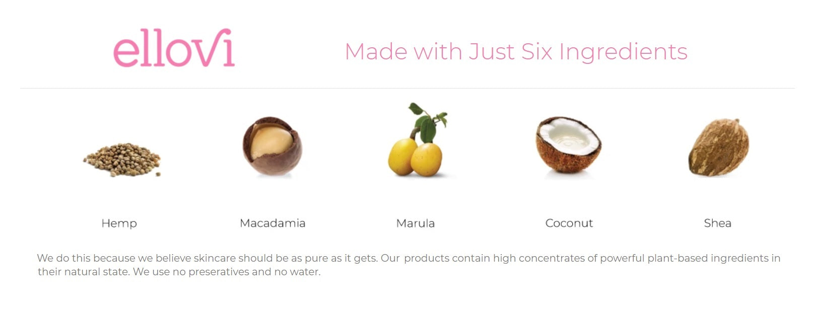 Ellovi Body Butters use only six natural ingredients