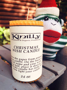 Christmas Wish Candle All Natural 100% Beeswax