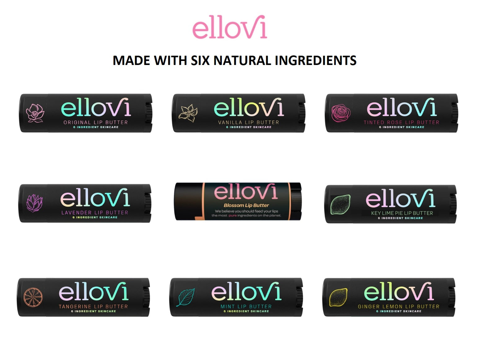 ELLOVI Lip Butter - All-Natural Lip Butter Balm 3-PACK