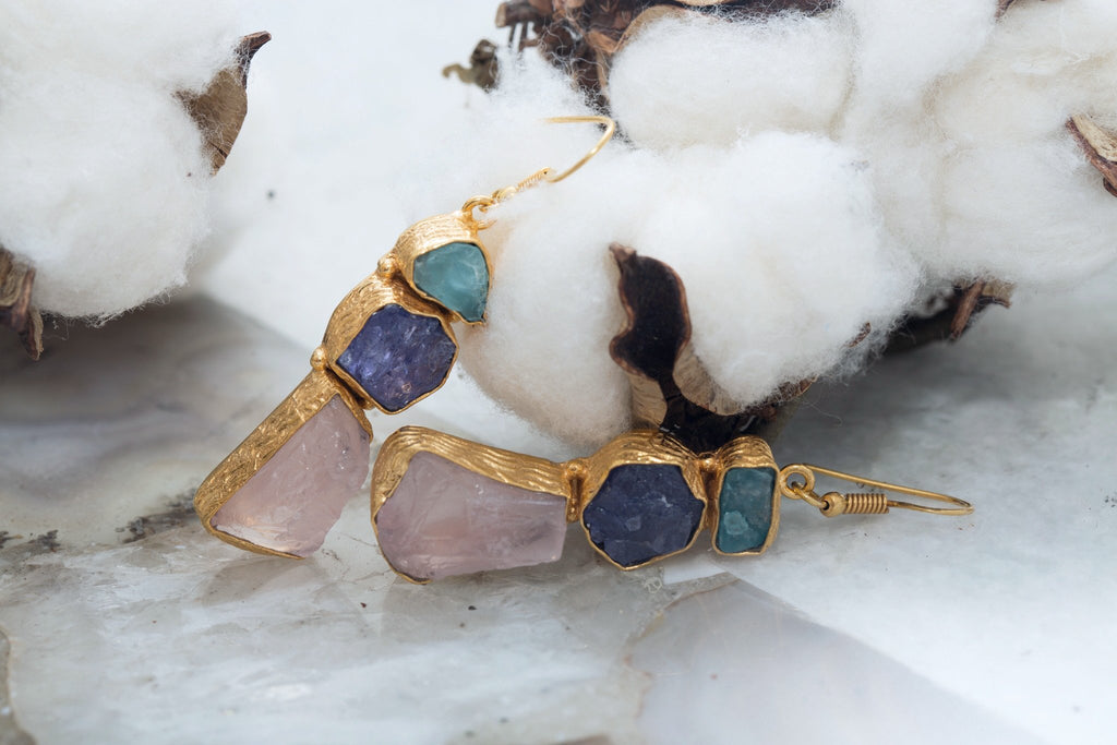 24K Gold Plated Earrings Aqua Tanzanite Rose Quartz Natural Gemstones