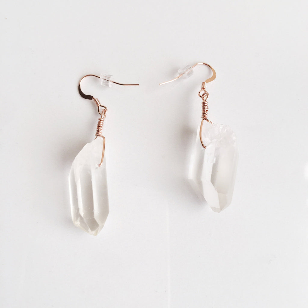 Natural Raw Quartz Crystal Gemstone Earrings