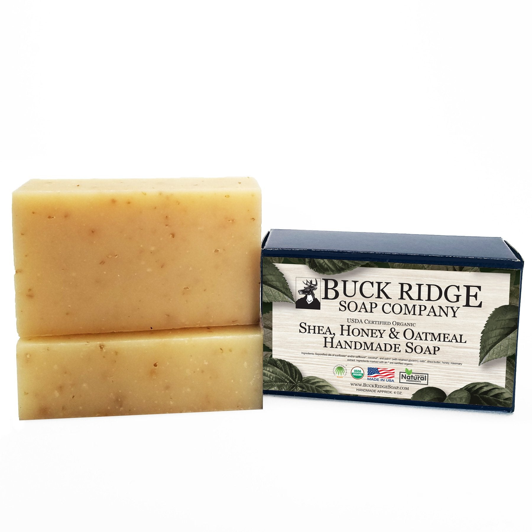 USDA Certified Organic Shea, Honey and Oatmeal handmade soap bars