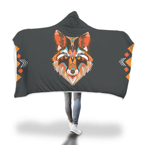 Tribal Wolf Kid/Adult Hooded Blanket