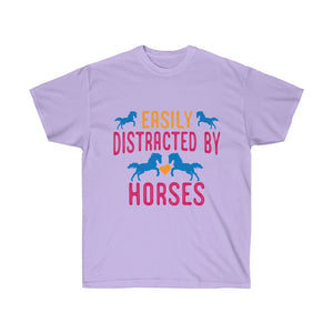 Easily Distracted By Horses - Tee Shirt - Funny Cowgirl Shirt - Horse Lover Gift