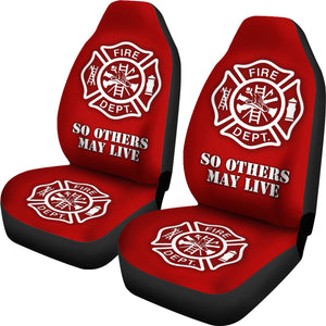 Fire Department Firefighter Red Car Seat Covers