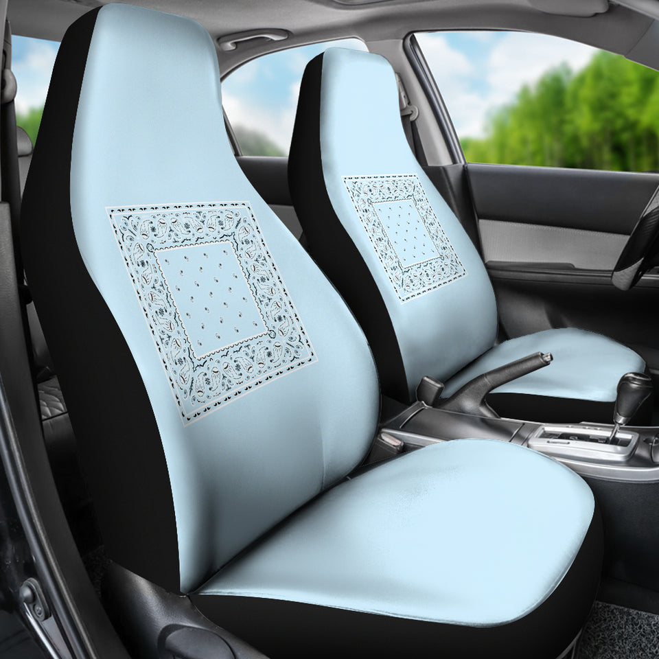 Light Blue Bandana Car Seat Covers - Minimal