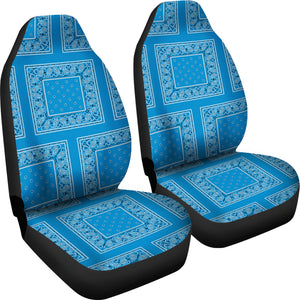 Sky Blue Bandana Car Seat Covers - Patch