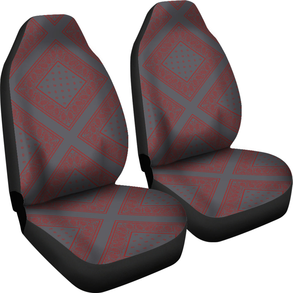 Gray and Red Gray and Red Bandana Car Cover Seats - Diamond