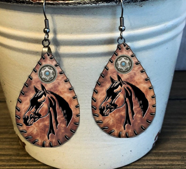 Wooden Horse Earrings (international)