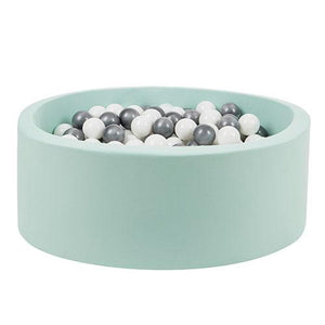 Larisa & Pumpkin Modern Mint Ball Pit for Kids | with Silver/White Balls